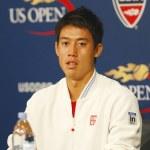 Professional tennis player Kei Nishikori during press conference after he won semifinal match at US Open 2014 — Fotografia Stock  #57790489