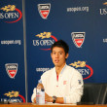 Professional tennis player Kei Nishikori during press conference after he won semifinal match at US Open 2014 — Fotografia Stock  #57790513