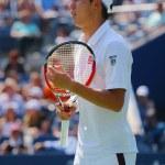 Professional tennis player Kei Nishikori during US Open men semifinal match with Novak Djokovic — Fotografia Stock  #57790639