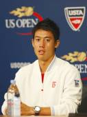 Professional tennis player Kei Nishikori during press conference after he won semifinal match at US Open 2014 — Foto Stock