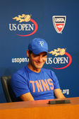 Seventeen times Grand Slam champion Roger Federer during press conference after he lost semifinal match at US Open 2014 — Stock Photo