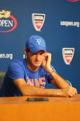 Seventeen times Grand Slam champion Roger Federer during press conference after he lost semifinal match at US Open 2014 — Foto Stock