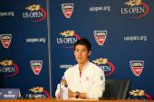 Professional tennis player Kei Nishikori during press conference after he won semifinal match at US Open 2014 — ストック写真