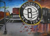 Mural de Nets Brooklyn na seção de Park Slope, Brooklyn — Fotografia Stock
