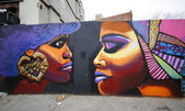 Mural art at Prospect Heights neighborhood in Brooklyn — Stock Photo