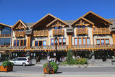 Shops at the famous Banff Avenue in Banff National Park — Стоковое фото