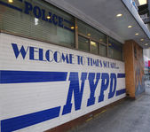 Famous NYPD Times Square Precinct sign in Midtown Manhattan — Stock Photo