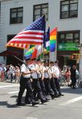 The Color Guard of the New York Police Department during at LGBT Pride Parade in New York — Stock Photo