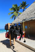 Diving equipment ready for tourists at diving shop located at  Bavaro Beach in Punta Cana — Stock Photo