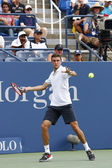 Professional tennis player Gilles Simon from France during round 4 match against US Open 2014 champion Marin Cilic — Stock Photo