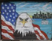 Mural in the memory of NYPD and FDNY personnel lost at September 11, 2001 — Stock Photo