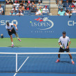Grand Slam champions Mike and Bob Bryan during US Open 2014 round 3 doubles match — Stock Photo #62754585