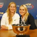 Постер, плакат: US Open 2014 women doubles champions Ekaterina Makarova and Elena Vesnina during press conference