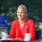 Tennis Channel commentator and former professional tennis player Rennae Stubbs during interview at US Open 2014 — Stock Photo