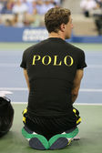Ball boy on tennis court at the Billie Jean King National Tennis Center during US Open 2014 — Stock Photo