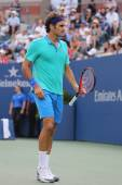 Seventeen times Grand Slam champion Roger Federer during US Open 2014 semifinal match against Marin Cilic — Stock Photo