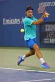 Seventeen times Grand Slam champion Roger Federer  during third round match at US Open 2014 — Stock Photo