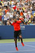 Professional tennis player Jo-Wilfried Tsonga celebrating victory after US Open 2014 round 3 match — Stock Photo