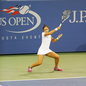 Professional tennis player Zarina Diyas during second round match at US Open 2014 — Stockfoto