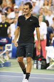 Seventeen times Grand Slam champion Roger Federer after victory at round 4 match at US Open 2014 — Stock Photo