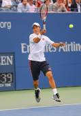 US Open 2014 finalist Kei Nishikori during final match against Marin Cilic at Billie Jean King National Tennis Center — Stock Photo