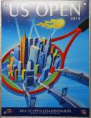 US Open 2012 poster on display at the Billie Jean King National Tennis Center in New York — Stok fotoğraf