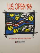 US Open 1996 poster on display at the Billie Jean King National Tennis Center in New York — Stok fotoğraf