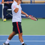 Professional tennis player Kei Nishikori from Japan during US Open 2014 match — Fotografia Stock  #63267269
