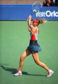 Five times Grand Slam champion Mariya Sharapova during third round match at US Open 2014 — Stock Photo