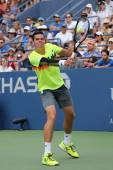 Professional tennis player Miols Raonic from Canada during third round match at US Open 2014 — Stock Photo