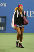 Grand Slam champion Serena Williams entering stadium before first round match at US Open 2014 — Stok fotoğraf
