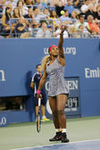 Grand Slam champion Serena Williams during first round match at US Open 2014 — Stok fotoğraf