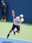 Professional tennis player Kei Nishikori from Japan during US Open 2014 match — Stok fotoğraf