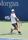 Professional tennis player Kei Nishikori from Japan during US Open 2014 match — Stock Photo