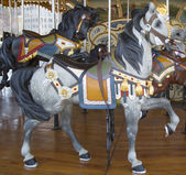Horses on a traditional fairground Jane's carousel in Brooklyn — Stock Photo