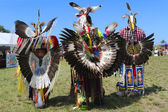 Unidentified male Native American dancers wears traditional Pow Wow dress with Dance Bustle during the NYC Pow Wow — Photo