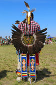 Unidentified male Native American dancer wears traditional Pow Wow dress with Dance Bustle during the NYC Pow Wow — Photo