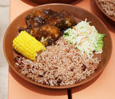 Typical local food at Caribbean Islands — Stock Photo