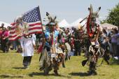 The Eagle Staff leads the Grand Entry at the NYC Pow Wow — Stock Photo