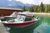 Znázorňovaná rybářské lodě na jezero Minnewanka v národním parku Banff — Stock fotografie