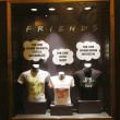 Постер, плакат: Window display decorated with Friends TV Show logo in Rockefeller Center