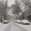 Cars under snow in Brooklyn, NY during massive Winter Storm Thor — Stock Photo #67021481