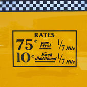 New York City taxi rates decal. This rate was in effect from March 1977 till July 1979 — Stockfoto