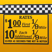 New York City taxi rates decal. This rate was in effect from April 1980 till July 1984 — Stock Photo
