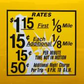 New York City taxi rates decal. This rate was in effect from May 1987 till January 1990 — Stock Photo
