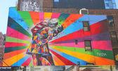 Mural art by Brazilian Mural Artist Eduardo Kobra in Chelsea neighborhood in Manhattan — Stock Photo