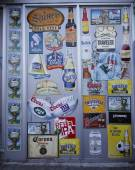 Beer labels on wall in Brooklyn — Stock Photo