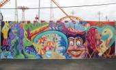 Mural art at new street art attraction Coney Art Walls at Coney Island section in Brooklyn — Стоковое фото