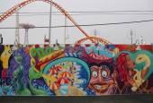 Mural art at the new street art attraction Coney Art Walls — Stok fotoğraf