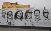 Malarstwo ścienne w nowej sztuki ulicy atrakcją coney sztuki ściany — Zdjęcie stockowe